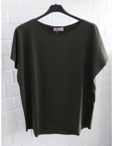 Damen Basic Shirt kurzarm oliv khaki mit Baumwolle Onesize 38 - 44