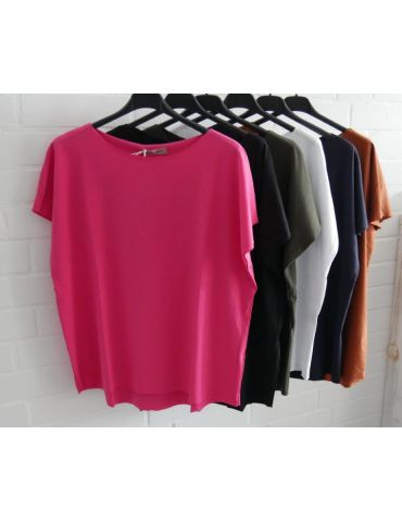 Damen Basic Shirt kurzarm pink mit Baumwolle...