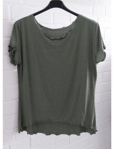 Damen Shirt kurzarm khaki oliv grün mit Viskose Wellen Onesize 36 - 40