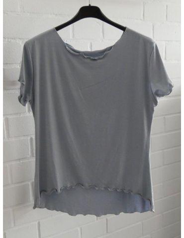 Damen Shirt kurzarm hellgrau grau mit Viskose Wellen Onesize 36 - 40