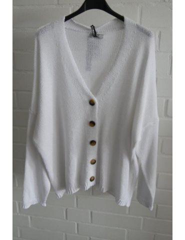 Xuna Damen Strick Jacke weiß white uni Baumwolle Onesize 36 - 44
