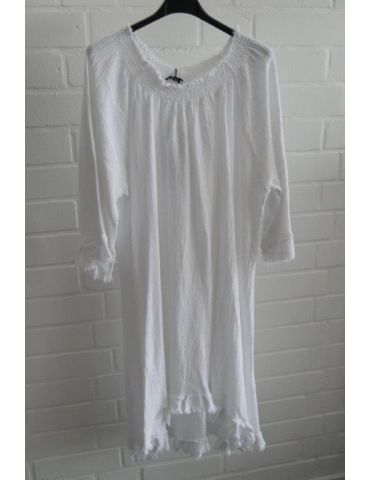 Xuna Damen Tunika Kleid Baumwolle weiß white Onesize 38 - 42
