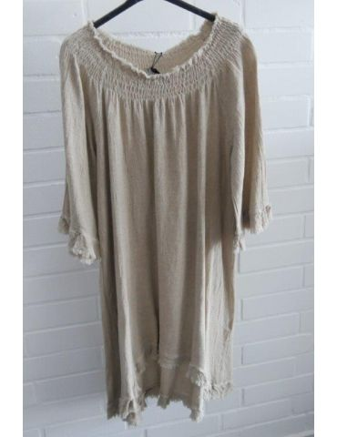 Xuna Damen Tunika Kleid Baumwolle beige sand Onesize 38 - 42