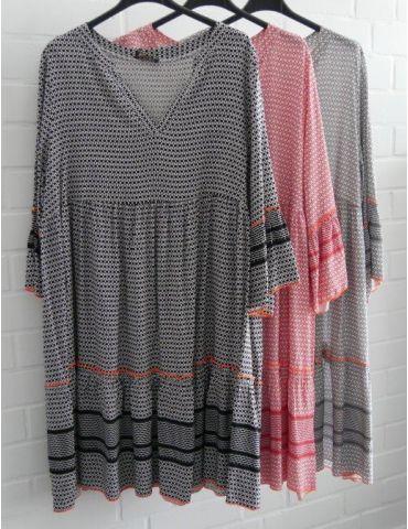 Damen Tunika Kleid A-Form weiß orange neon...