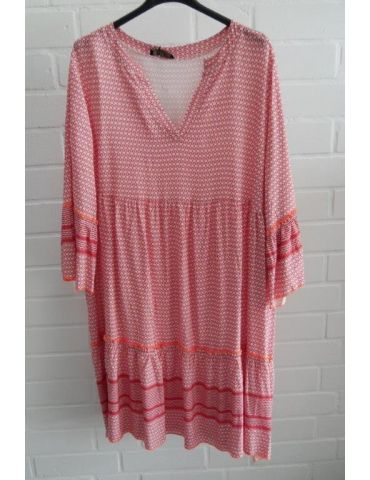 Damen Tunika Kleid A-Form weiß orange neon Onesize 36 - 42