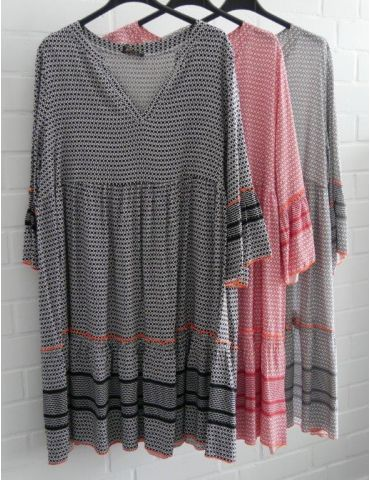 Damen Tunika Kleid A-Form grau weiß neon orange...