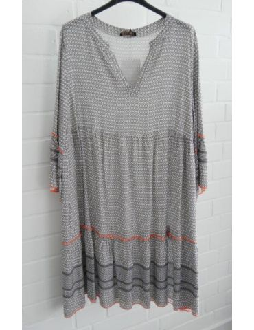 Damen Tunika Kleid A-Form grau weiß neon orange Onesize 38 - 42
