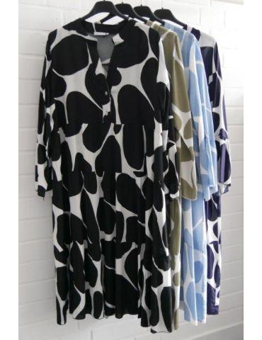 Damen Tunika Kleid A-Form weiß hellblau...