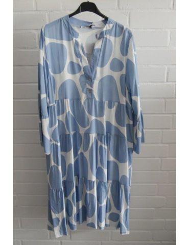 Damen Tunika Kleid A-Form weiß hellblau Riesenpunkte Onesize 38 - 42