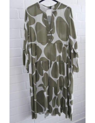 Damen Tunika Kleid A-Form weiß oliv Riesenpunkte Onesize 38 - 42