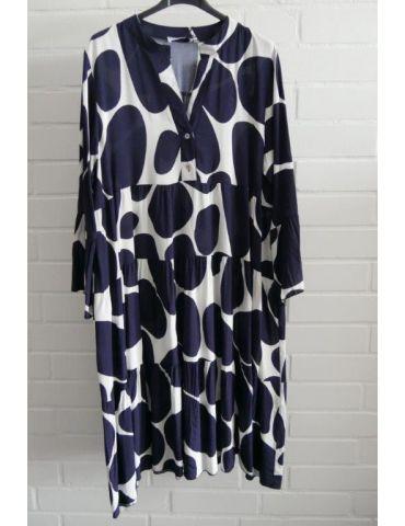 Damen Tunika Kleid A-Form weiß dunkelblau Riesenpunkte Onesize 38 - 42