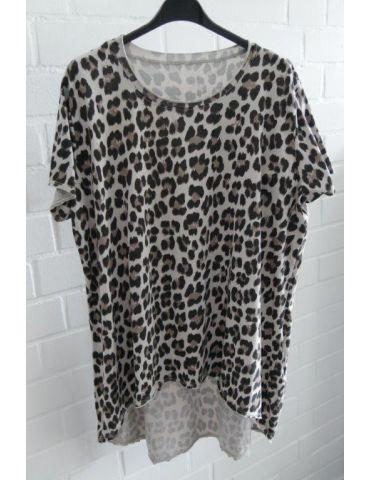 Damen kurzarm Shirt A-Form beige schwarz taupe Leo Baumwolle Onesize ca. 38 - 44