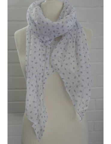 Schal Tuch Loop Made in Italy Seide Baumwolle weiß dunkelblau Mini Paisly