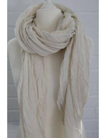 XXL Damen Schal Tuch hellbeige sand verwaschen 100% Baumwolle Asymmetrisch