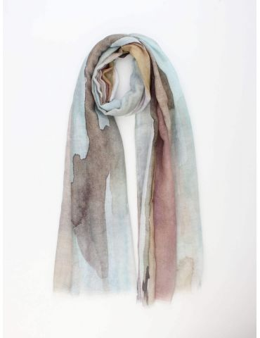 Leichter XL Damen Schal Tuch grün braun senf rose bunt Farbverlauf