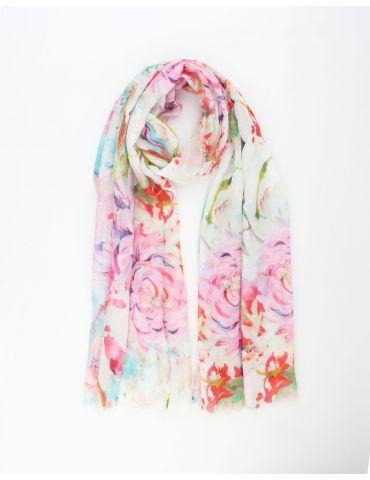 Leichter XL Damen Schal Tuch weiß pink grün gelb bunt Blumen