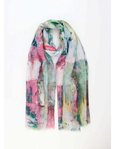 Leichter XL Damen Schal Tuch hellgrau pink grün blau bunt Phantasiemuster