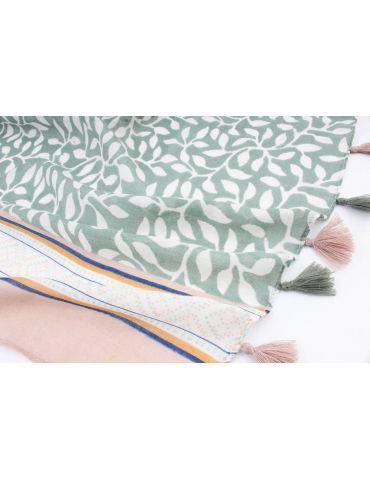 Leichter XL Damen Schal Tuch weiß grün blau...