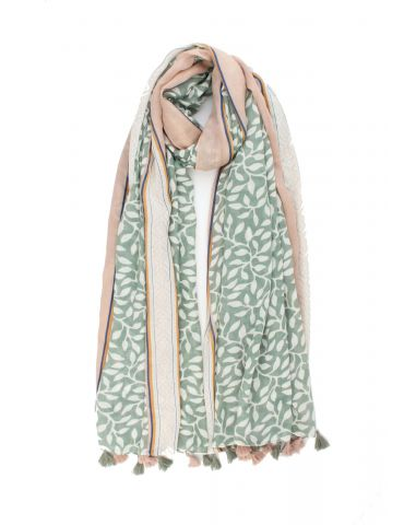 Leichter XL Damen Schal Tuch weiß grün blau bunt Blätterranke
