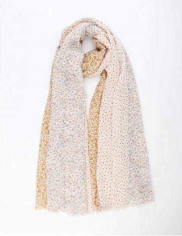 Leichter XL Damen Schal Tuch weiß lachs ocker braun bunt Blumen Gänseblümchen
