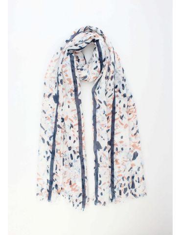 Leichter XL Damen Schal Tuch weiß dunkelblau hellblau braun Phantasiemuster