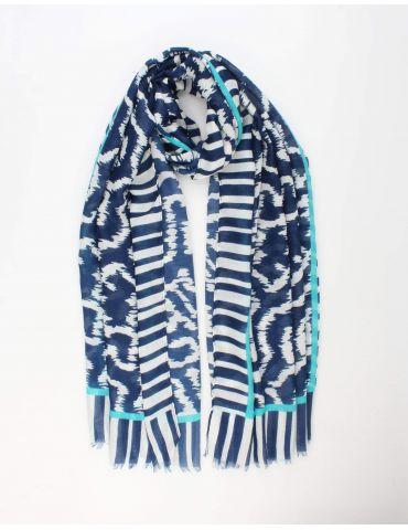 Leichter XL Damen Schal Tuch dunkelblau weiß grün Phantasiemuster