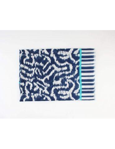 Leichter XL Damen Schal Tuch dunkelblau weiß...