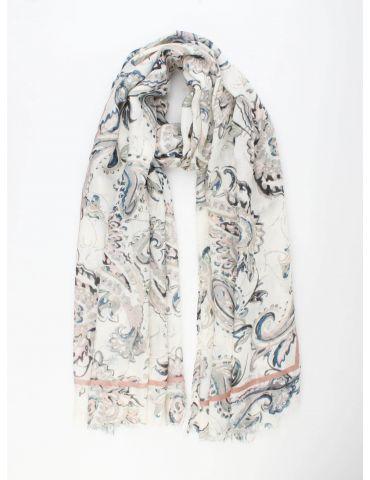 Leichter XL Damen Schal Tuch creme rose dunkelblau bunt Paisly