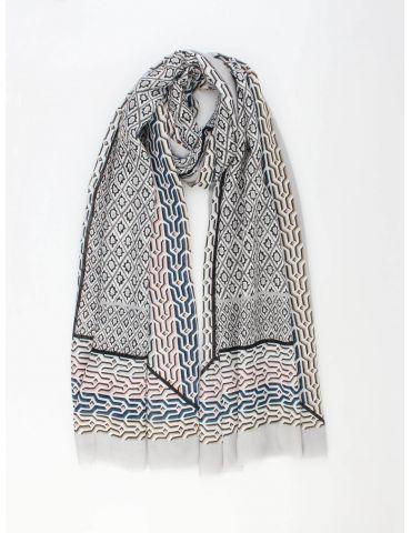 Leichter XL Damen Schal Tuch hellgrau blau rose bunt Phantasie