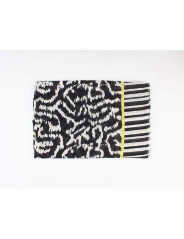 Leichter XL Damen Schal Tuch schwarz weiß gelb...