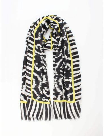 Leichter XL Damen Schal Tuch schwarz weiß gelb Phantasiemuster