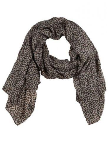 Leichter XL Damen Schal Tuch beige braun schwarz kleines Leo