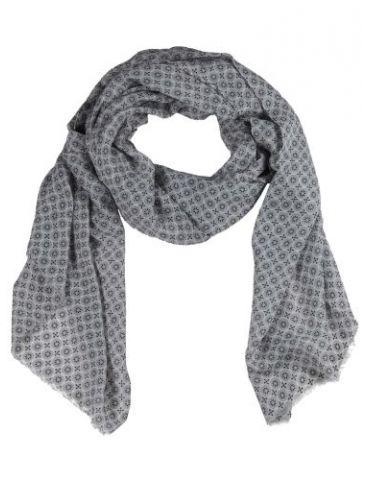 Leichter XL Damen Schal Tuch grau schwarz weiß Phantasiemuster