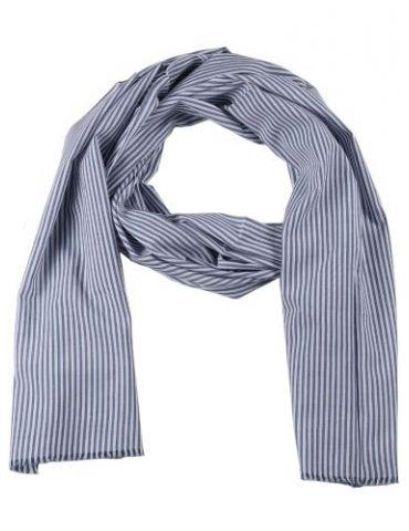 Zwillingsherz Herren Schal Tuch blau weiß Streifen gestreift Baumwolle