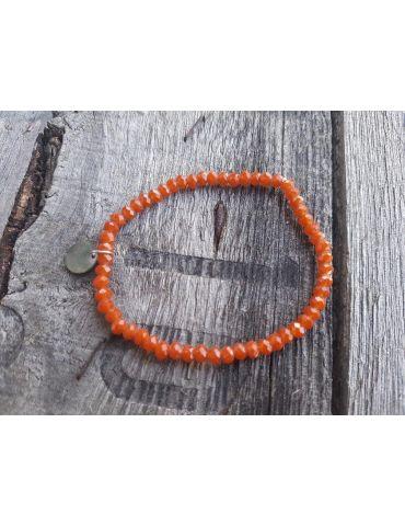 Bijoux Armband Kristallarmband Perlen rost orange klein Glitzer Schimmer elastisch