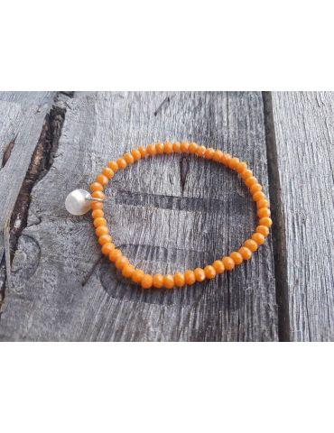 Bijoux Armband Kristallarmband Perlen orange gelb klein Glitzer Schimmer elastisch