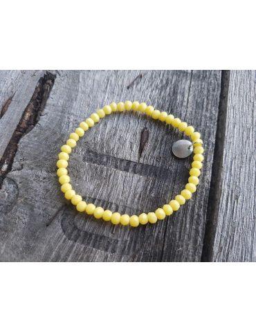 Bijoux Armband Kristallarmband Perlen helles zitronengelb klein Glitzer Schimmer elastisch