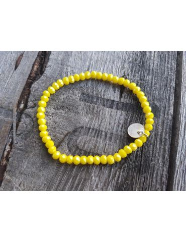Bijoux Armband Kristallarmband Perlen zitronengelb klein Glitzer Schimmer elastisch