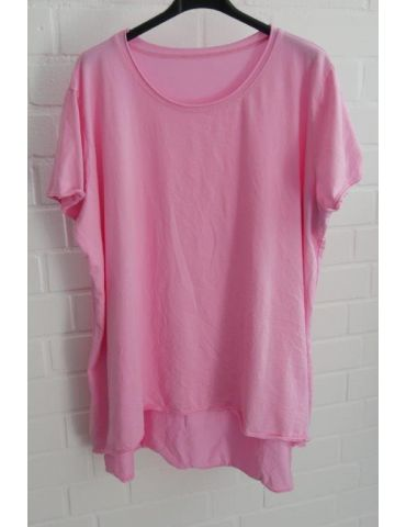 Damen Shirt A-Form kurzarm pink Baumwolle Onesize ca. 38 - 46