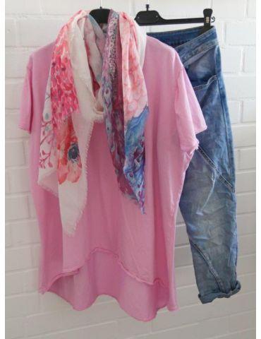 Damen Shirt A-Form kurzarm pink Baumwolle...