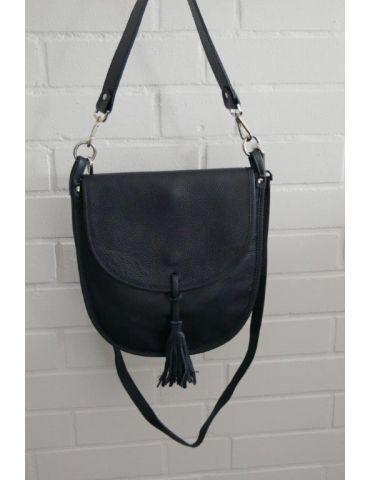 Damen Echt Leder Tasche Schultertasche dunkelblau marine Made in Italy