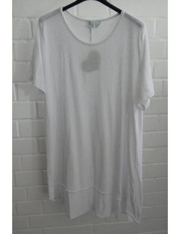 ESViViD Damen Tunika Shirt A-Form weiß white kurzarm Baumwolle Onesize ca. 38 - 44