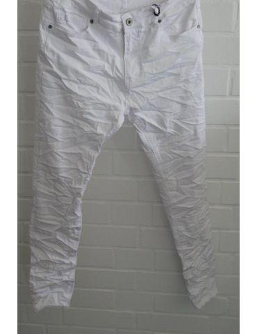 Xuna Jeans Hose Damenhose weiß white Beinabschluß gefranst