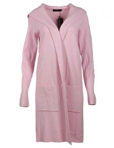 Zwillingsherz Damen Strick Mantel Jacke Kapuze rose rosa mit Viskose