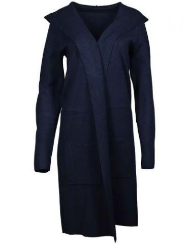 Zwillingsherz Damen Strick Mantel Jacke Kapuze dunkelblau marine mit Viskose