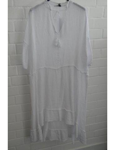 Xuna Damen Tunika Kleid Baumwolle Leinen weiß white Onesize 38 - 42