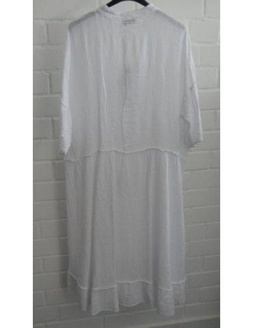 Xuna Damen Tunika Kleid Baumwolle Leinen weiß...