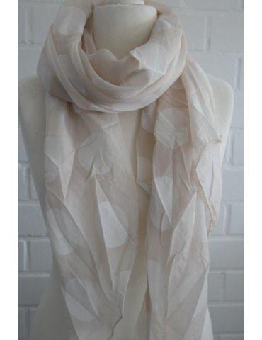 Schal Tuch Loop Made in Italy Seide Baumwolle beige weiß Riesen Punkte