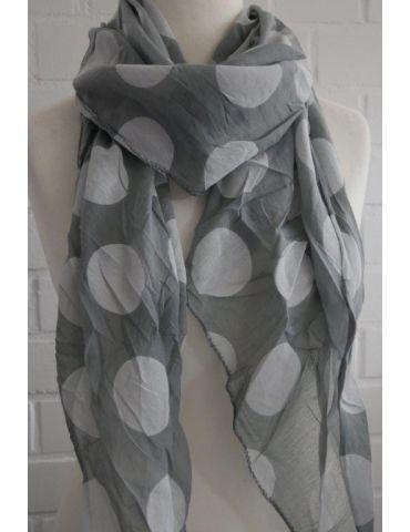 Schal Tuch Loop Made in Italy Seide Baumwolle grau weiß Riesen Punkte
