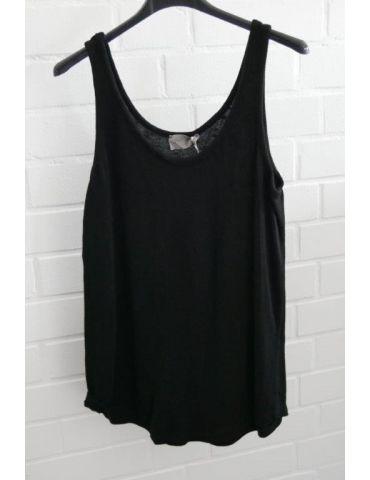 ESViViD Damen Top Shirt schwarz black uni mit Baumwolle Onesize 38 - 42 3502